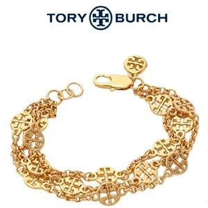 ■Tory Burch■ Gold Logo Multi Strand Bracelet